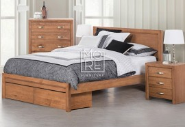 Fontana American Ash Solid Timber Bed Frame with 2 Drawers