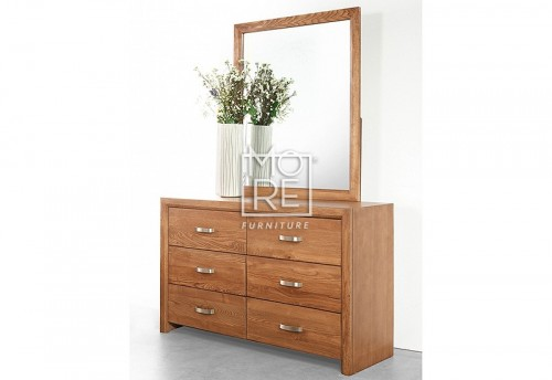 Fontana American Ash Solid Timber Dresser with Mirror