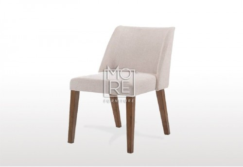 Nido Beige Fabric Ding Chair with Brown Legs