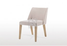 Nido Beige Fabric Ding Chair with Natural Legs