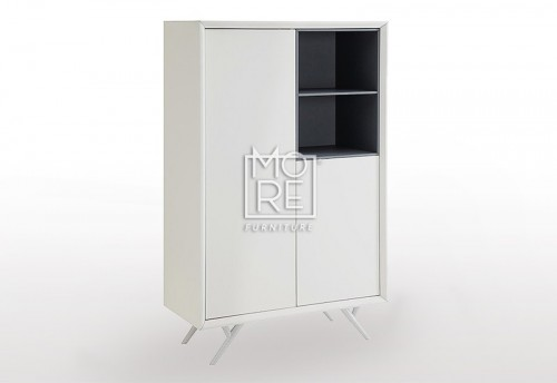 [50% Off] Cara Matt PU White Storage Cabinet