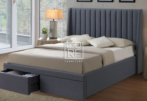 Kidman Fabric Bed Head with Holly Drawer Base in Grey