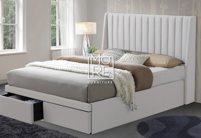 Kidman Fabric Bed Head with Holly Drawer Base in Oatmeal