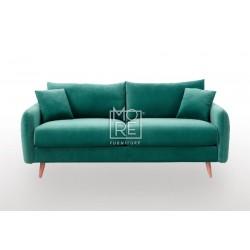 DB Luxury Velvet Feel Fabric Italian 2.5 Seater Sofa Green