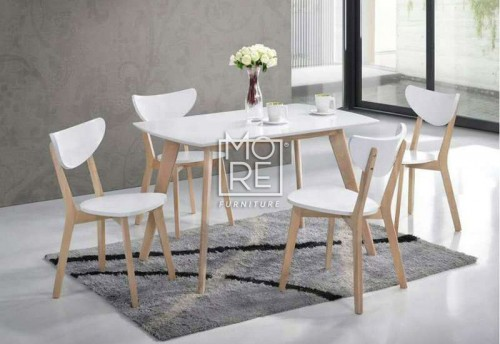 DB Eva 5Pce White Timber Dining Suite