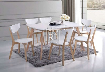 DB Malaysia 7Pce White Timber Dining Suite