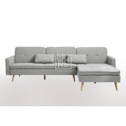 DB Fabric 3 Seater Chaise Click Clack Sofa Bed Light Grey
