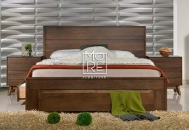 Coral Solid Rubber Wood Solid Timber Bed with 4 Drawers walnut