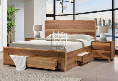 Coral Rubber Wood Solid Timber Bed Frame with 4 Drawers Natural