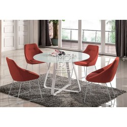 Tulips 5Pce Glass Top Dining Suite with Red Chairs