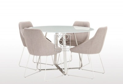 Tulips 5Pce Glass Top Dining Suite with Light Grey Chairs
