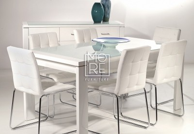 Edgewood 7Pce High Gloss Dining Suite White