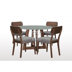 Megan 5Pce Round Glass Top Dining Suite