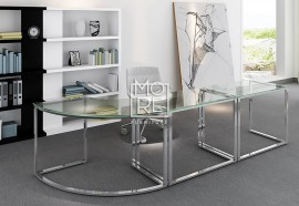 Tres Glass Corner Desk