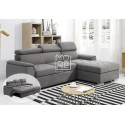 DB Stylish Headrest Fabric 3 Seater Chaise Storage Sofa Bed