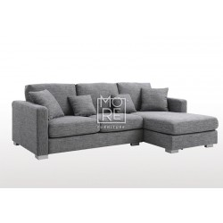 DB New Style Super Comfy Fabric 3 Seater Chaise Dark Grey