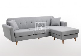 DB Modern 3 Seater Chaise Premium Grey Fabric
