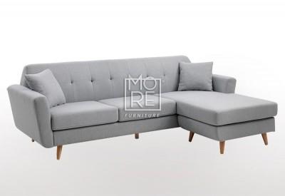 DB Modern 3 Seater Chaise Premium Grey Fabric