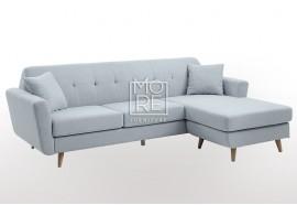 DB Modern 3 Seater Chaise Premium Blue Fabric