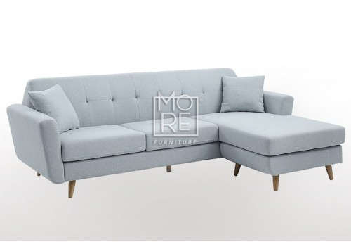DB Modern 3 Seater Chaise Premium Blue Fabric