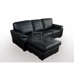Botany 3 Seater Chaise PU Leather Black
