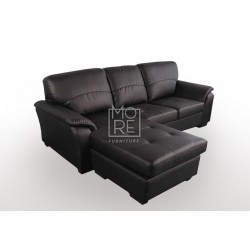 Botany 3 Seater Chaise PU Leather Brown