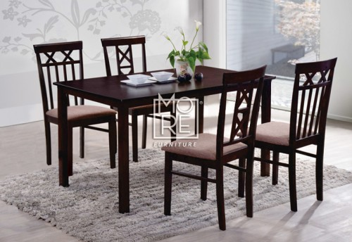 Warm 1 Table + 4 Chairs Wooden Dining Suite