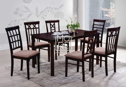 Warm 1 Table + 6 Chairs Wooden Dining Suite