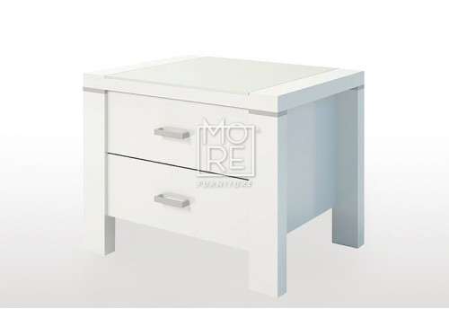 Domus (Edgewood) High Gloss Bedside Table White