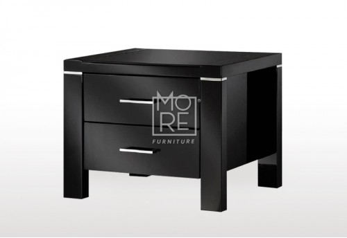 Domus (Edgewood) High Gloss Bedside Table Black