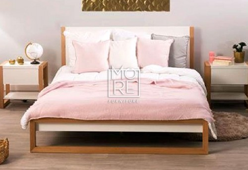 Como Oak Veneer Bed Frame Matt White