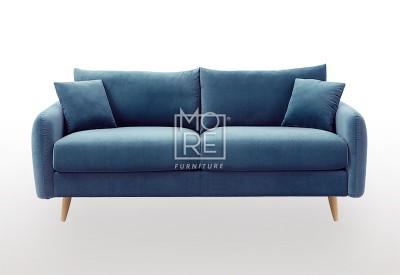 DB Luxury Velvet Feel Fabric Italian 2.5 Seater Sofa Blue