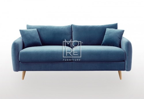 DB Luxury Velvet Feel Fabric Italian 2.5 Seater Sofa Blue