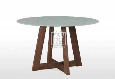 Megan Round Glass Top Timber Dining Table