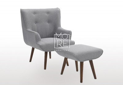 DB New Fabric Grey Armchair with Footstool