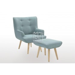 DB New Fabric Light Green Armchair with Footstool