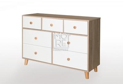 EVE Acacia 7 Drawers Dresser Oak&White