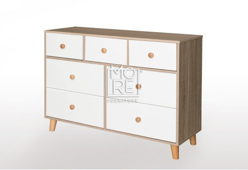 EVE Acacia 7 Drawers Dresser Oak&White