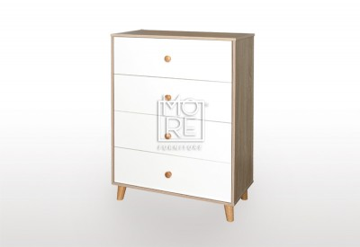 EVE Acacia Chest Tallboy Oak&White