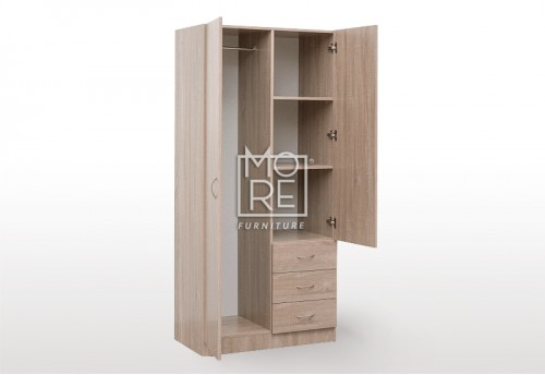 EVE MS 3 Drawers Combo MDF Wardrobe Oak