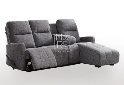 DB Fabric Recliner 3Seater Chaise Sofa with Cup Holder