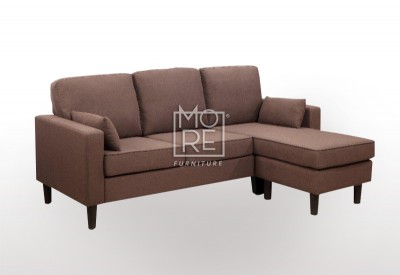 EVE Compact Firm Chaise&Ottoman Convertible Lounge Brown