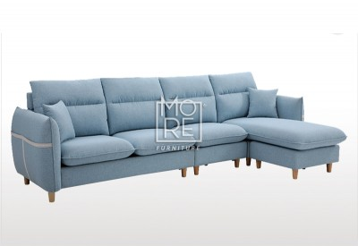DB Customizable Fabric 4 Seater Chaise Sky Blue
