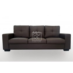 Grace 3 Seater PU Leather Sofa Chocolate