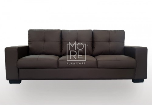 Grace 3 Seater PU Leather Sofa Chocolate