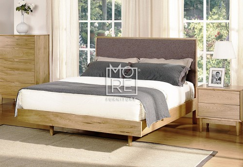 Denmark Poplar Timber Bed Frame with Grey Fabric
