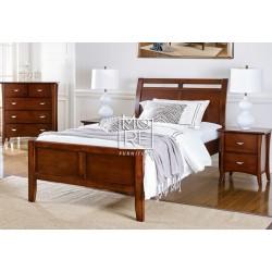Clovelly Poplar Solid Timber Bed Frame Walnut