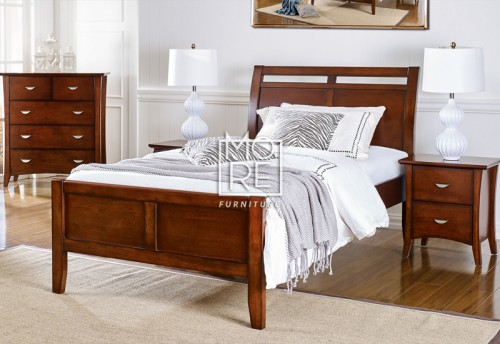 Clovelly Poplar Solid Timber Bed Frame Walnut