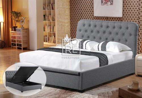 Amelia Fabric Gas Lift Storage Bed Frame Dark Grey