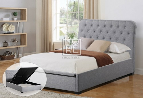 Amelia Fabric Gas Lift Storage Bed Frame Light Grey
